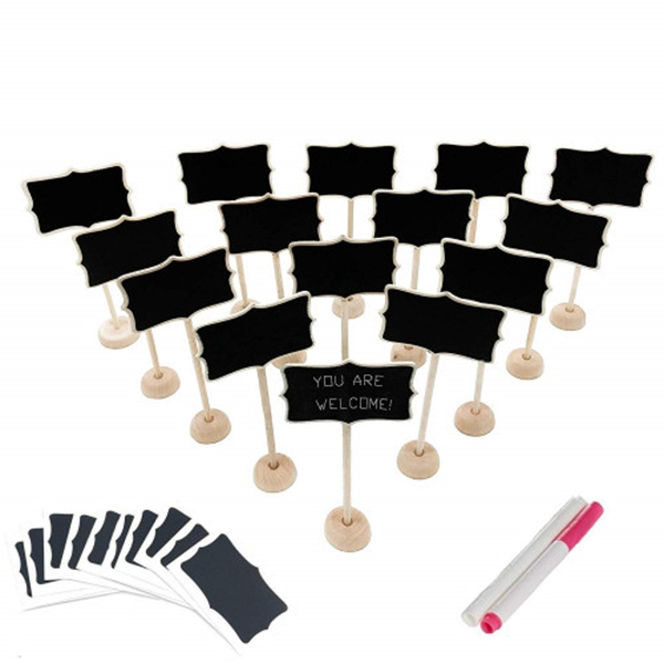 racdde 15 Pack Wood Mini Chalkboard Signs (Water-Based Chalk and Replacement Stickers Are Included) Small Rectangle Chalkboards Blackboard for Weddings, Message Board Signs and Special Event Decorations
