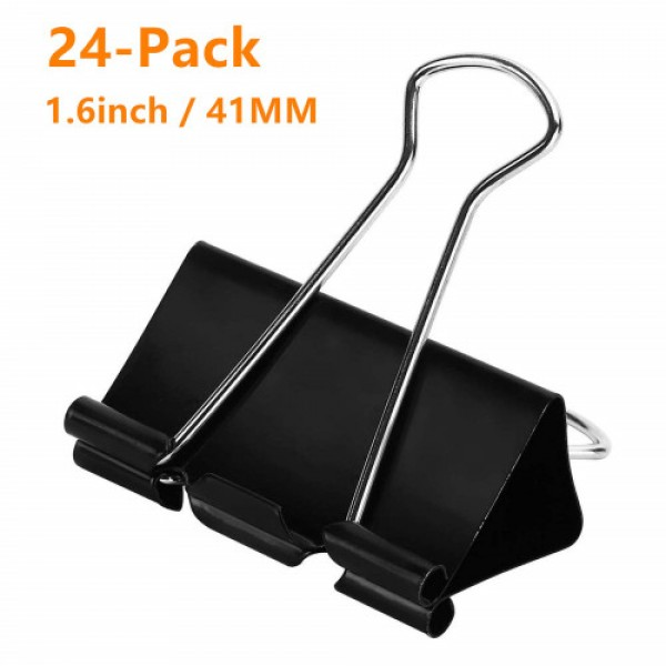 racdde Large Binder Clips 1.6Inch (24 Pack), Big Paper Clamps Clips for Office Supplies, 1.6Inch/41mm Width, 0.7Inch/18mm Capacity, Black
