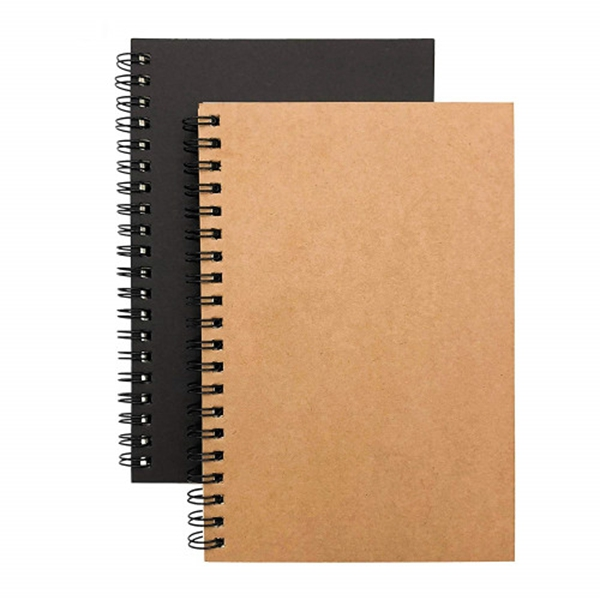 racdde Soft Cover Spiral Notebook Journal 2-Pack, Blank Sketch Book Pad, Wirebound Memo Notepads Diary Notebook Planner with Unlined Paper, 100 Pages/ 50 Sheets, 7Inchx 4.75Inch (Brown and Black)