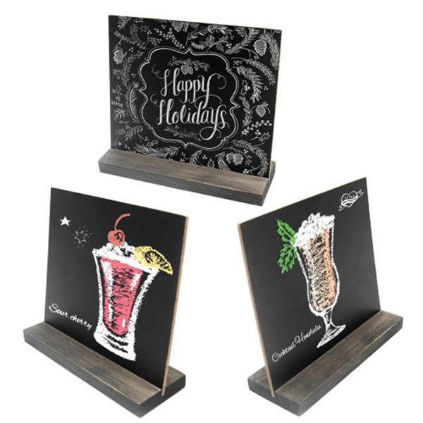 racdde 5 X 6 Inch Mini Tabletop Chalkboard Signs with Vintage Style Wood Base Stands, Set of 3