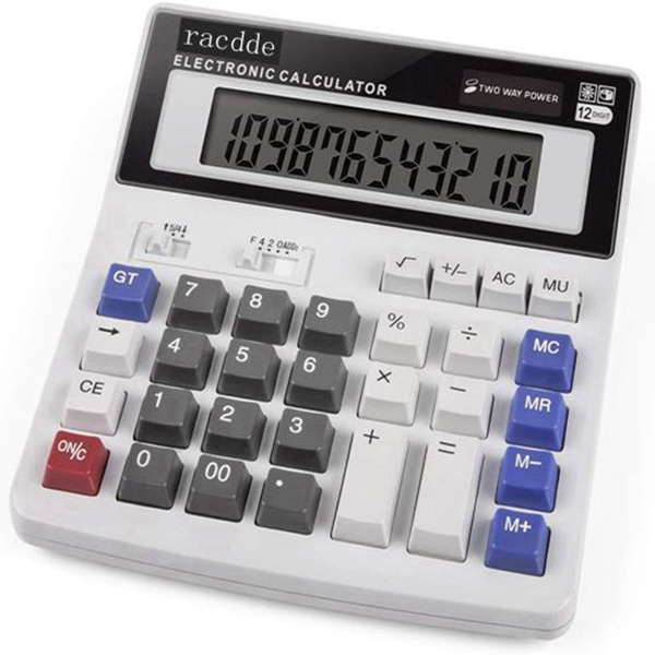 racdde Calculator,  Standard Function Scientific Electronics Desktop Calculators, Dual Power, Big Button 12 Digit Large LCD Display, Handheld for Daily and Basic Office (White)