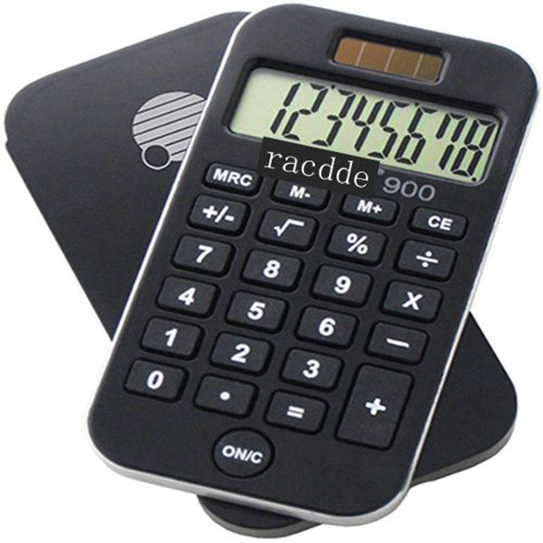 RACDDE  900 8-Digit Standard Function Calculator with Hard Protective Cover, Solar and Battery LCD Display, Small Pocket Calculator for Students and Professionals, Black