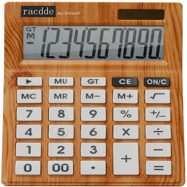 Racdde KC-DX640-10, 10-Digits Desktop Calculator, Wood