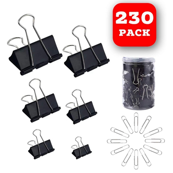 Racdde 130 Pc Assorted Size Binder Clips + [100 Bonus Paper Clips] - 6 Sizes Paper Clamp - Sturdy Container Included (Black)