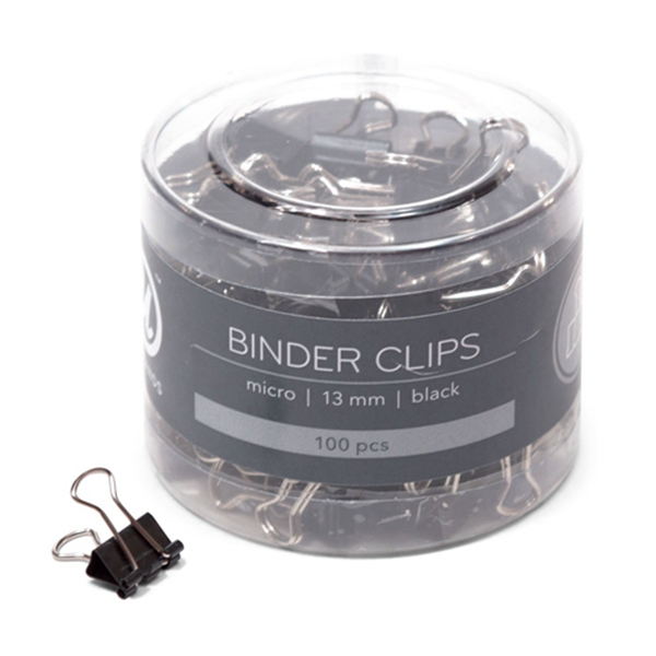 Racdde Binder Clips, Micro 1/2-Inch Width, 1/5-Inch Paper Holding Capacity, Black and Silver Steel, 100-Count
