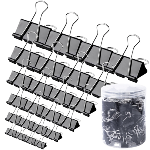 Racdde 20 Pcs Binder Clips - Paper Clamps Assorted 6 Sizes, Paper Binder Clips, Metal Fold Back Clips with Box for Office, School and Home Supplies, Black
