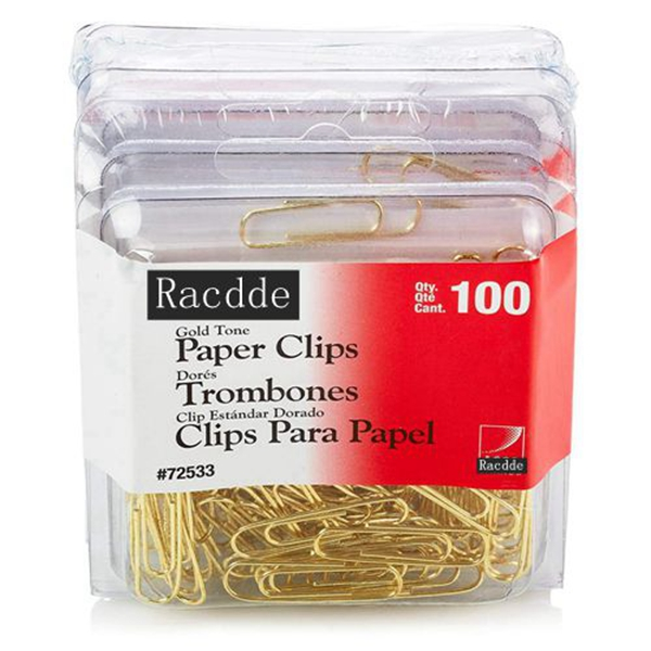 Racdde Gold Tone Clips, Smooth Finish, 2 Size, 100/Box, 4-Pack (400 Clips Total) (A7072554)