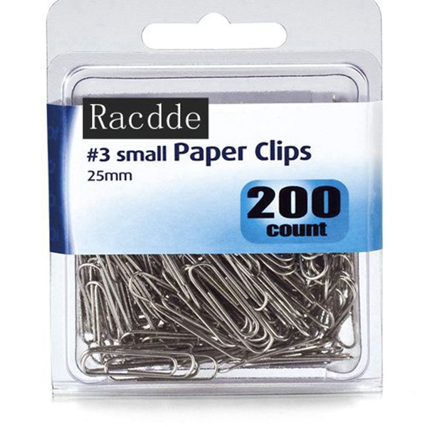 Racdde Small #3 Size Paper Clips, Silver, 200 in Pack (97219)