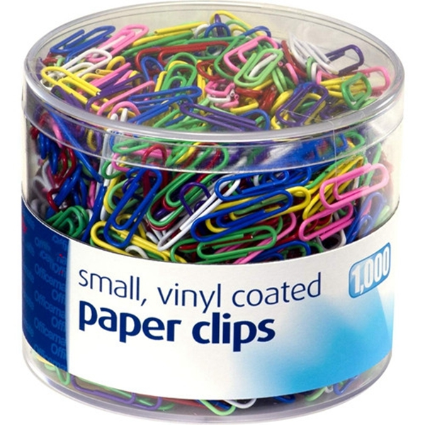 Racdde Vinyl Coated #2 Paper Clips, Assorted Colors, Tub of 1000 (97634)