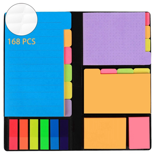 Racdde 578-in-1 Divider Sticky Notes Set, Super Sticky Page Markers Prioritize with Color Coding, 60 Ruled, 40 Dotted, 40 Blank, 60 Orange and Pink, 150 Index Tabs and 168 Labels