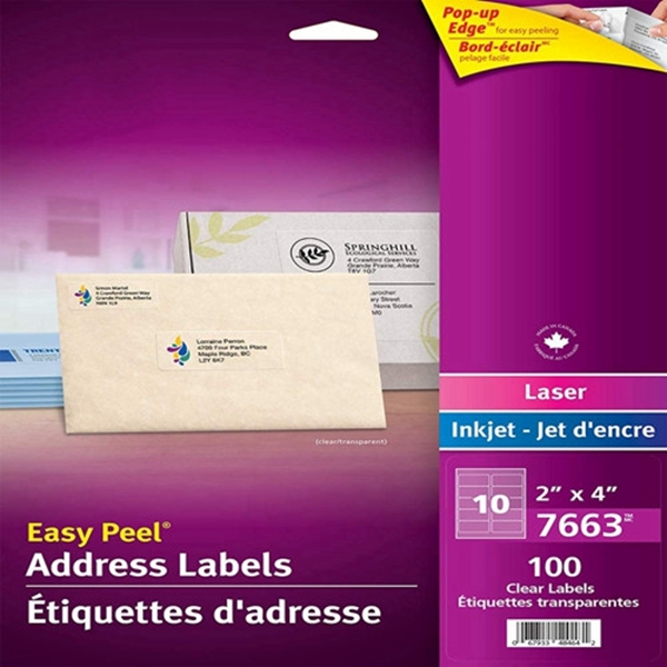 """Racdde  Shipping Labels with Easy Peel for Laser and Inkjet Printers, 2"""" x 4"""", Glossy Clear, Rectangle, 100 Labels, Permanent (7663) Made in Canada for The Canadian Market"""