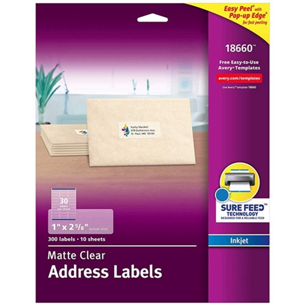 Racdde Easy Peel Mailing Labels for Ink Jet Printers, 1 x 2-5/8 Inches, Clear, Pack of 300 Labels (18660)