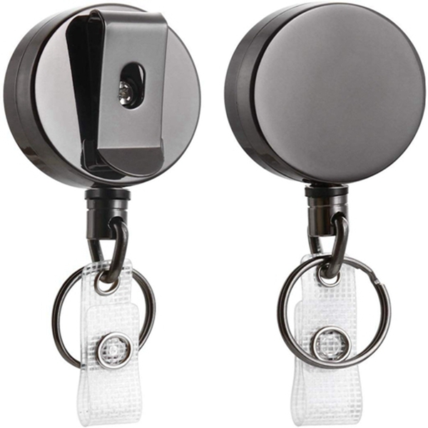 """Racdde 2 Pack Heavy Duty Retractable Badge Holder Reel,   Metal ID Badge Holder with Belt Clip Key Ring for Name Card Keychain [All Metal Casing, 27.5"""" Steel Wire Cord, Reinforced Id Strap]"""