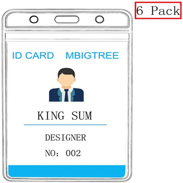 Racdde Vertical ID Badge Holders Sealable Waterproof Clear Plastic Holder, Fits RFID/Proximity/Badge Swipe Cards or Credit Card/Driver's License (6 Pcs, Only Holders)