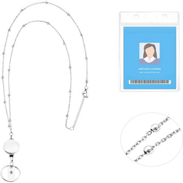 Racdde Retractable Badge Reel Lanyard with ID Holder for Women,Fashion Cruise Lanyard Stainless Steel Necklace with Water Resistant Name Badge Holder Clip