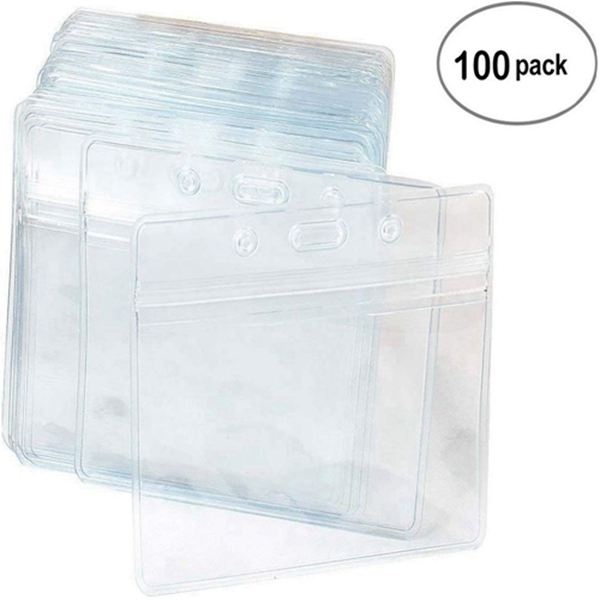 Racdde 100 Pcs Clear Plastic Horizontal Name Tag Badge ID Card Holders