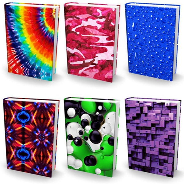 "Racdde Stretchable Book Covers – Bundle of 6 Durable Hardcover Protectors For 9"" x 11"" Jumbo Textbooks – Washable & Reusable Non-Adhesive Nylon Fabric School Book Jackets In Jumbo New Print 2018"