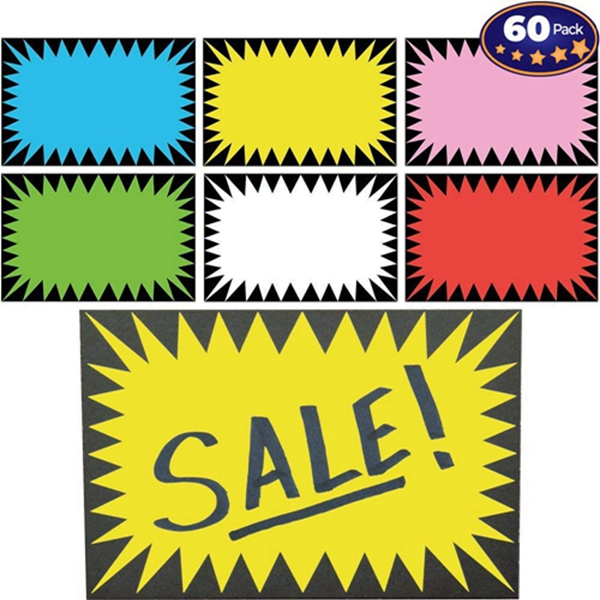 Racdde Price Burst 60 Sign Pack. Boost Sales with Bright Display Tags. Durable, Easy to Write On Star Cards Are Great for Yard, Estate & Garage Sale, Fundraiser, Store, Business & Flea Market