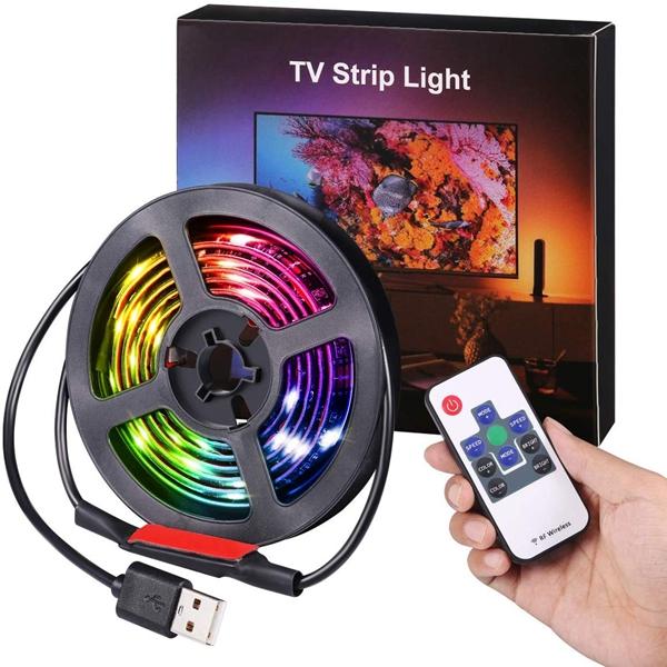 Racdde (2019 Upgraded) Led Strip Lights, 3.3ft USB LED TV Backlight Kit with Remote, 19 Modes 20 Color Changing 5050 RGB Waterproof IP65 LED Bias Lighting for TV, Desktop PC
