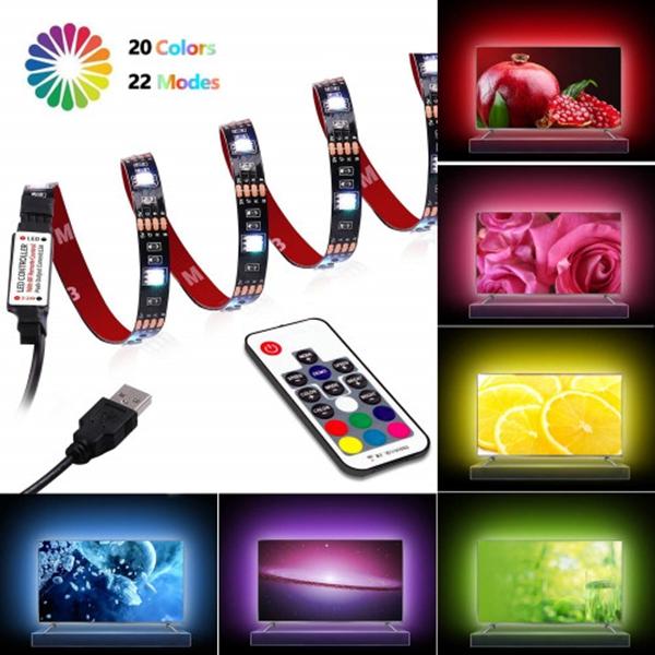 Racdde LED Strip Lights - TV Backlight 6.56ft for 40-60in TV - USB Led TV Light Strip with Remote - 22 Colors Changing 5050 LEDs Bias Lighting for HDTV, Computer, Home Decorative Backlight.