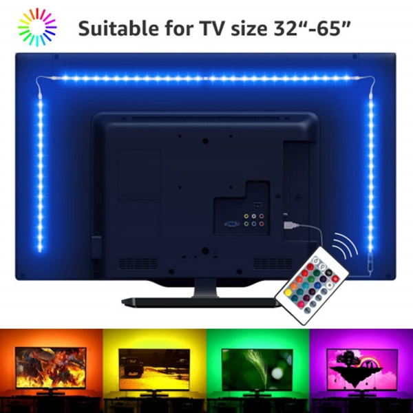 Racdde Backlight 3.28ft LED Strip 32 inch RGB Color Changing Ambient Remote Controller, 6.56ft/2m, USB Powered Bias Lighting for Smart TV PC Monitor Home Theater Decoration