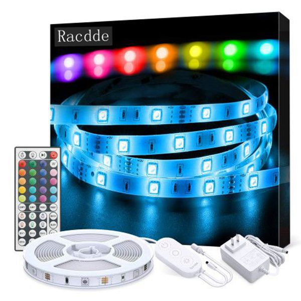 LED Strip Lights, Racdde  16.4ft RGB Color Changing Light Strip Kit with Remote and Control Box for Room,Bedroom, TV, Ceiling, Cupboard Decoration, Bright 5050 LEDs, Cutting Design, Easy InstallationLED