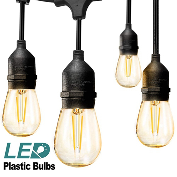 Racdde LED Outdoor String Lights 48FT with 2W Dimmable Edison Vintage Plastic Bulbs and Commercial Great Weatherproof Strand - UL Listed Heavy-Duty Decorative LED Café Patio Light, Porch Market Light