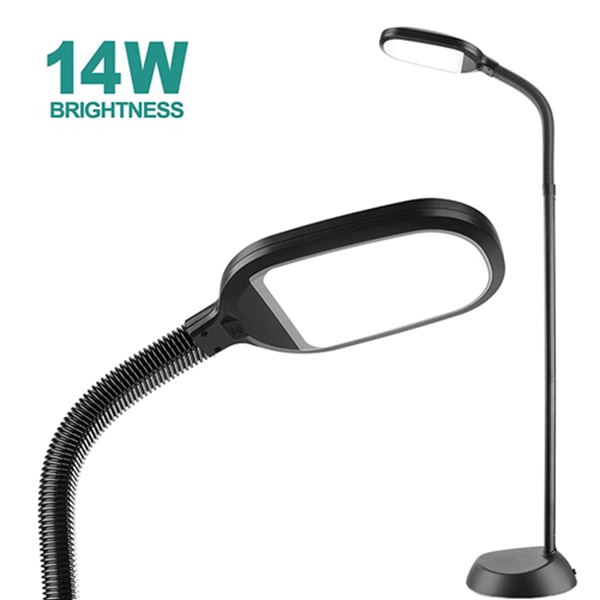 14W Racdde LED Floor Lamp with: Reading Light Craft Lights 2 Brightness Level Dimmable Head Natural Daylight Standing Pole Light with Gooseneck for Sewing Bedroom Office Artist (Black) -Floor Lamps