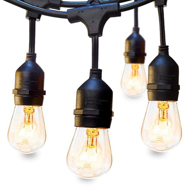 Racdde Outdoor String Lights Commercial Great Weatherproof Strand Dimmable Edison Vintage Bulbs Hanging Sockets, 24FT UL Listed Heavy-Duty Decorative Café Market Patio Lights for Bistro Garden Porch