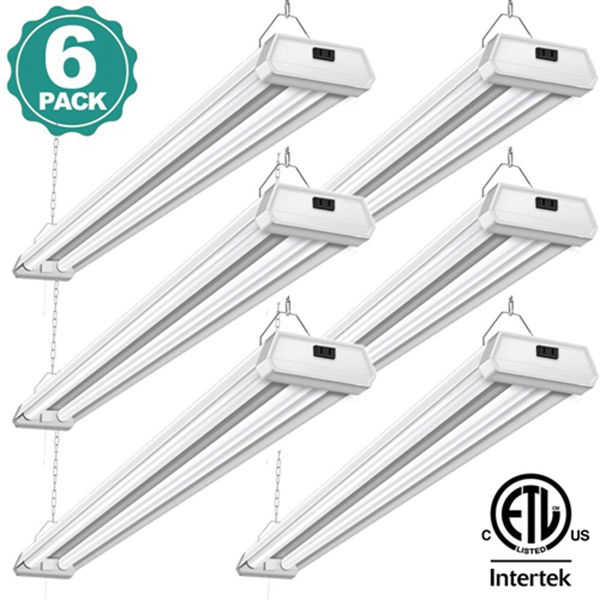 6 Pack 42W LED Shop Lights Linkable Utility Garage Light Racdde- 4ft 5000K Daylight 4500LM 300W Equivalent - Double Integrated Florescent Light Fixture with Pull Chain Mounting, ETL Listed Energy Star