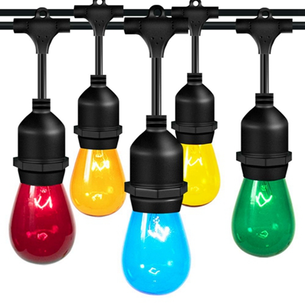 Racdde Color Outdoor String Lights 48FT with Colorful Edison Vintage Bulbs - UL Listed Heavy-Duty Decorative Café Patio Lights , Market Porch Lights