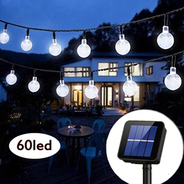 Racdde Solar String Lights Globe 33 Feet 60 Crystal Balls Waterproof LED Fairy Lights 8 Modes Outdoor Starry Lights Solar Powered String Light for Garden Yard Home Party Wedding Decoration (Cool White)