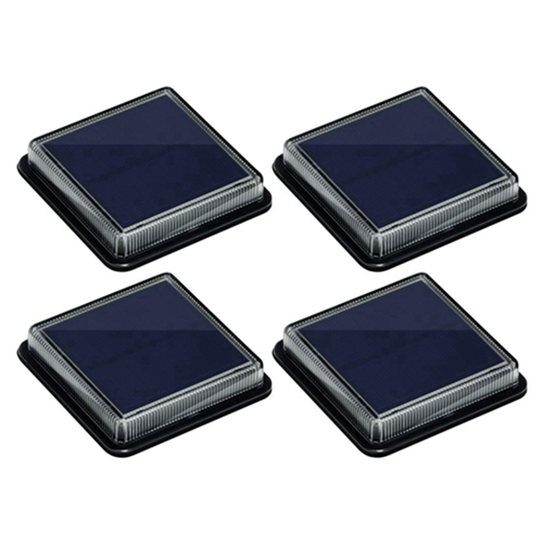 Racdde Solar Deck Lights, Ground Driveway Walkway Dock Light Solar Powered Outdoor Stair Step Pathway LED Lamp for Backyard Patio Garden, auto On/Off - Warm White - Square - 4 Pack.