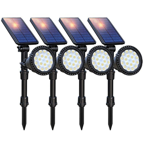 Racdde Solar Lights Outdoor Upgraded, 18 LED Waterproof Solar Landscape lights Solar Spotlight Wall Light Auto On/Off Wireless Landscape Lighting for Garden Yard Pathway Pool Area, Pack of 4 (Cool White)