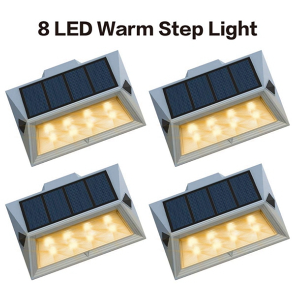 Racdde【Newest Version Warm 8 LED】Warm White Solar Deck Lights Outdoor Decorative Solar Step Lights Waterproof Lighting for Stair Garden Wall Paths Patio Decks Auto On/Off 4 Pack