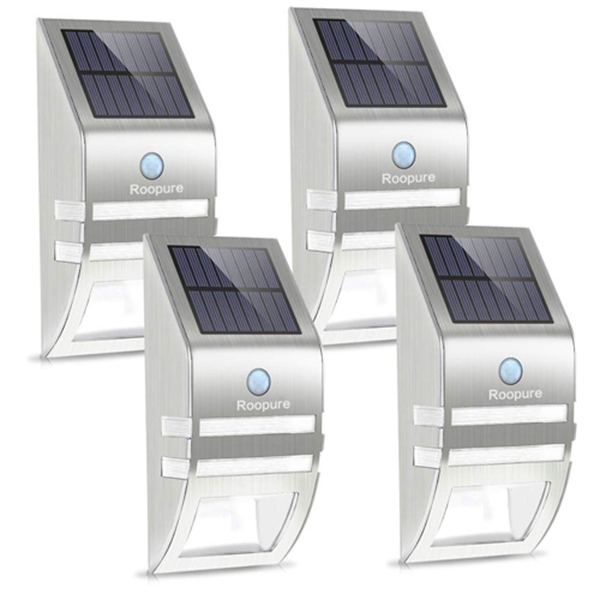 Racdde 4 Pack Stainless Steel Solar Motion Sensor Lights Outdoor Decorative Solar Powered LED Accent Lights Solar Powered Security Lights Waterproof for Front Door Patio Deck Yard Garden Fence Porch