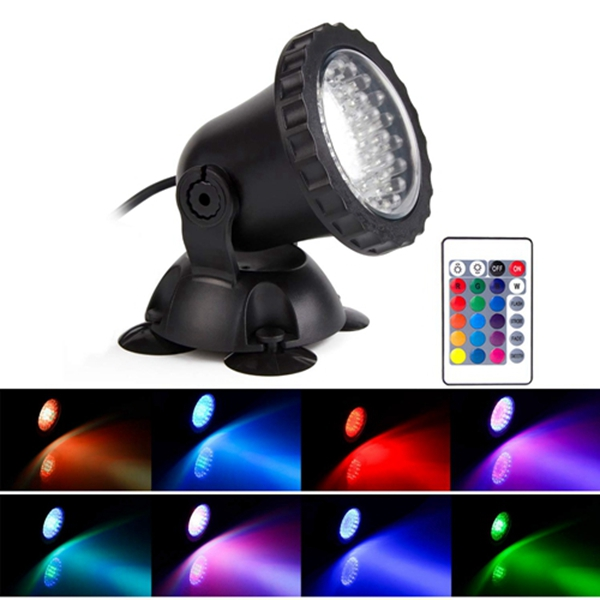 Racdde Lawn Light Waterproof IP 68 Submersible Spotlight with 36-LED Bulbs 3.5W Color Changing Spot Light for Aquarium Garden Pond Pool Tank Fountain Waterfall (A Set of 1)