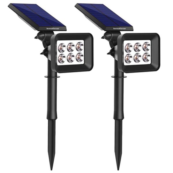 Racdde Upgraded 6 LED Solar Spotlights Outdoor for Yard Garden Driveway, 2 Pack(White Light)