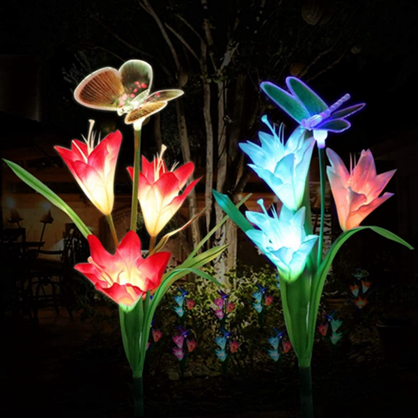 Solar Garden Lights Outdoor,Racdde Solar Stake Lights Outdoor, Waterproof Multi Color Changing with 6 Lily Flowers,1 Butterfly,1 Dragonfly,Solar LED Decorative Lights for Garden,Patio,Backyard