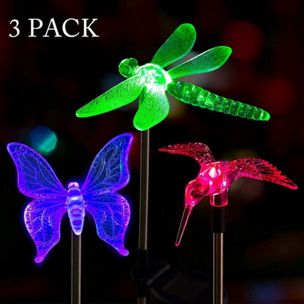 Racdde Solar Garden Lights Outdoor - 3 Pack Solar Stake Lights Multi-Color Changing LED Garden Lights, Premium Butterfly,Dragonfly and Bird Decorative Lights for Path, Yard, Lawn, Patio.