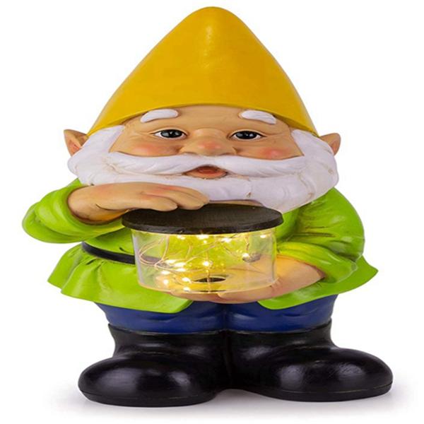 """Racdde Solar Garden Light, 6"""" W x 13"""" H (Yellow Hat)"""