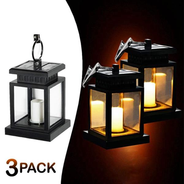 Racdde Outdoor-Lanterns, Hanging-Solar-Lights, Solar-Lanterns, Bright Led lighting for Yard Garden Decorations (3-Packs)