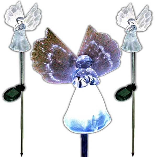 Racdde Set of 2 Gorgeous Frosty Solar Angel Lights Garden Stakes With Fibre Optic Wings