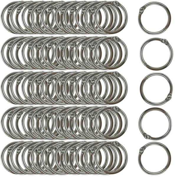 Racdde Book Rings Small 1-Inch Nickel Plated Metal (100-Pack)