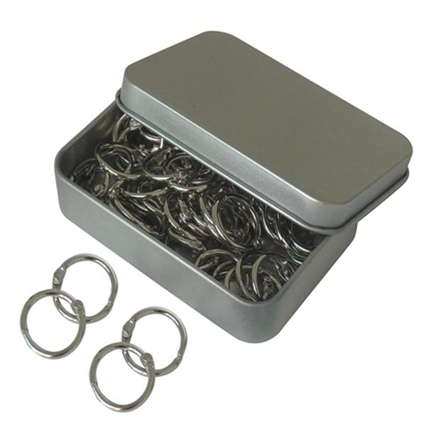 Racdde 15mm/0.6 Inch Mini Metal Scrapbooking Book Loose Leaf Binder Ring Silver Tone Key Ring Chain Keychain, 60Pieces/Box