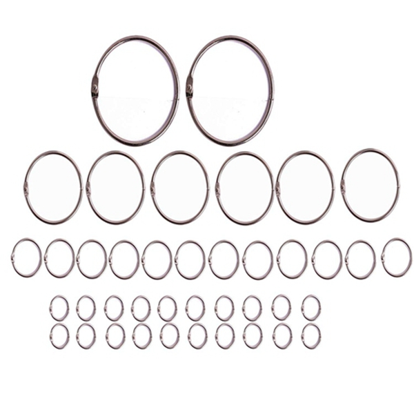 Racdde 4 Assorted Sizes 0.6 Inch/1 Inch/2 Inch/3 Inch Diameter Metal Album Photo Paper Book Loose Leaf Binder Ring Clip Key Chain Ring Holder, 40PCS/Box