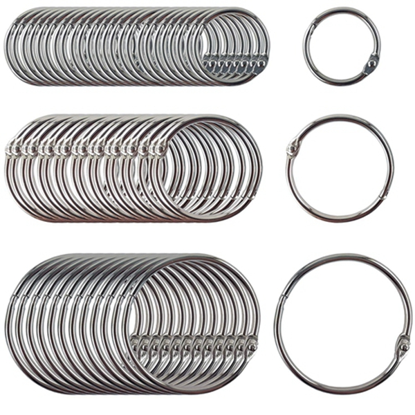 Racdde Book Rings Assorted Sizes Small, Medium and Large Nickel Plated (250-Pack)