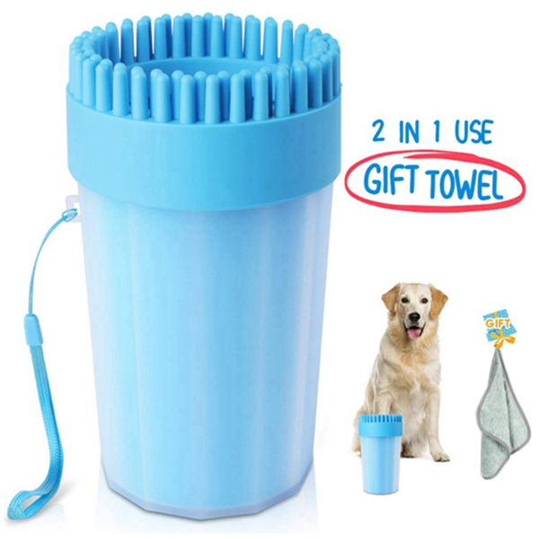 Racdde Portable Dog Paw Cleaner Upgrade Dog Cleaner with Towel Dog Cleaning Brush Paw Cleaner for Dogs and Cats
