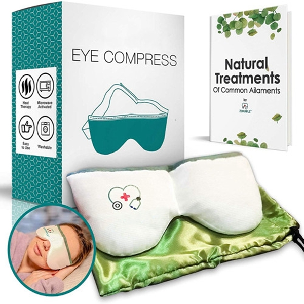 Racdde Heated Eye Mask for Dry Eyes - Warm Compress for Eyes | Moisturizing Heat for Styes, Pink Eyes, Blepharitis and Puffy Eyes - Adjustable, Microwavable, Washable & Reusable | Bonus Storage Pouch