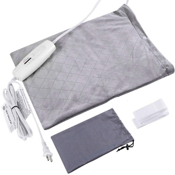 Racdde Heating Pad Dry/Moist Electric Heat Therapy Option for Pain Relief, Heating Pads for Back Pain Auto Shut Off,FDA Approved, 4 Heat Settings, Storage Bag 12'' x 15''Large Size (Light Grey)